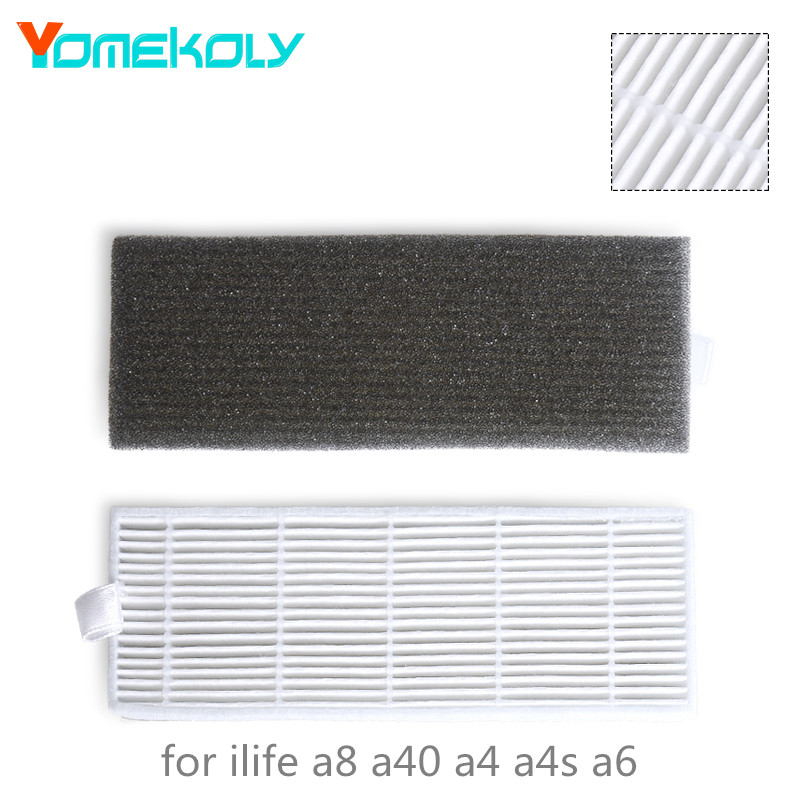 1 Set HEPA Filter Filters Cotton for ilife A4s A6 A4 A40 A8 DN621 X620 Robot Replacement Filter Vacuum Cleaner Parts vacuum pump inlet filters f006 1 rc2 1 2