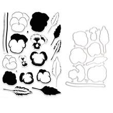 Pansies flower transparent clear stamp/ cutting dies DIY Die Cut Stencil Decorative Scrapbooking Craft Card stencils template