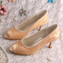 Элегантные Свадебные Туфли На Высоком Каблуке Кружева Насосы Открытым Носком Обувь Высокие Каблуки Шампанское