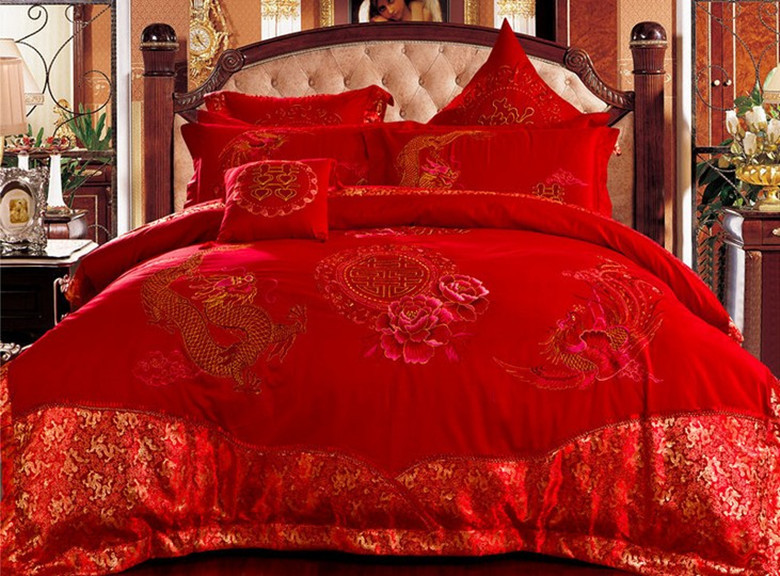Chinese Traditional Wedding Bedding Set King Size Luxury