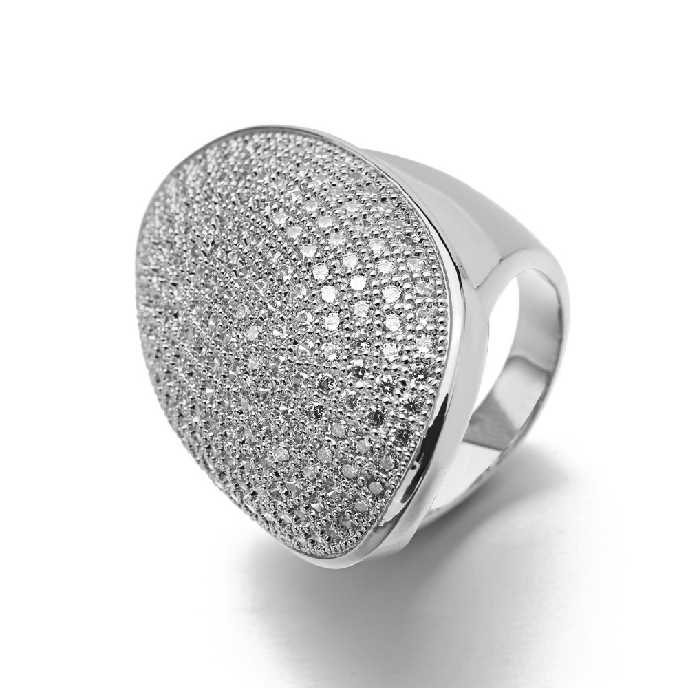 VANAXIN Dubai Big Wide Women Cocktail AAA Iced Out Zirkon Bridal Ring - Märkessmycken - Foto 2