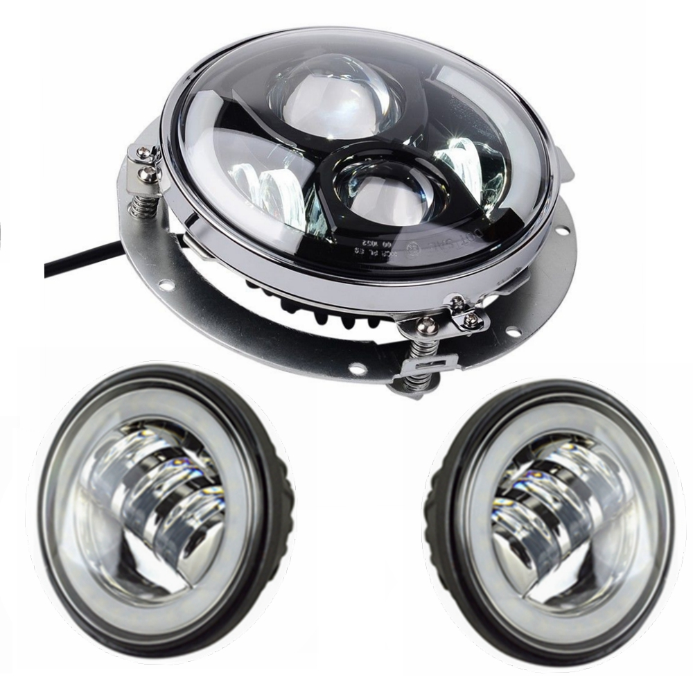 1* Harley Daymaker 7'' Round LED Headlight bulb with Adapter Ring + 2* 4.5'' LED Passing Lamps for Harley Davidson Motorcycles harley motorcycle 7 inch orange motorcycle headlight 4 5 fog daymaker hid led light bulb headlight for harley davidson
