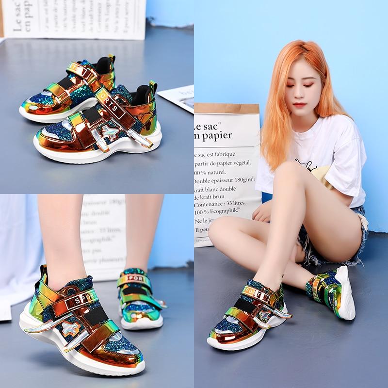 Nouveau miroir marée chaussures femmes baskets de luxe chaussures femmes designers plate-forme haute super chaussures décontractées femmes paillettes baskets - 2