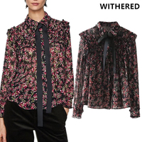 Withered England Style Floral Printing Blusas Bow Lace Up Ruffles In Long Sleeve Pearl Button Blouse