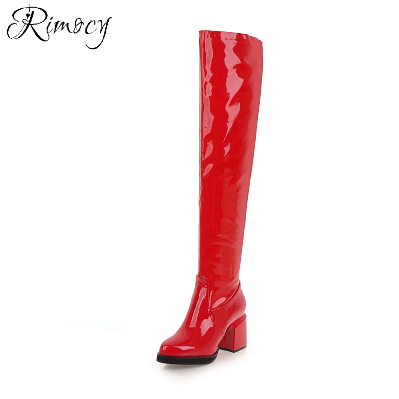 Rimocy Women Sexy Thin High Heels Boots High Heels Platform Patent Leather Long Boots Night Club Over The Knee Women's Boots sexy patent leather thin heels women knee high boots big size ladies platform high heels pole dancing boots women mid calf boots