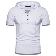 2018 nuevo hombre Hipster manga corta hip hop camiseta encapuchada Camisas  patchwork botón deco casual Camisetas Tees T Camisas . 5b319d751da
