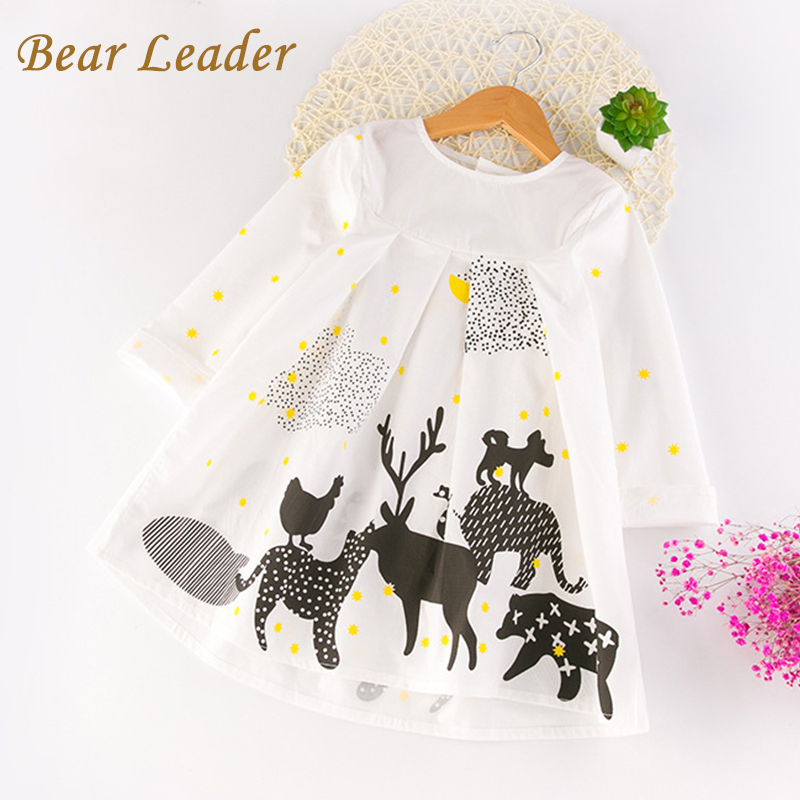Bear Leader Girls Dress 2017 New Autumn Girls Clothes Long Sleeve Animal Printing Design for Children Clothing 3-7Y Girls Dress набор твое комплект носков
