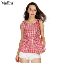 Vadim women sweet ruffles plaid pleated shirts buttons sleeveless backless checked blouse ladies summer casual tops blusas WT459