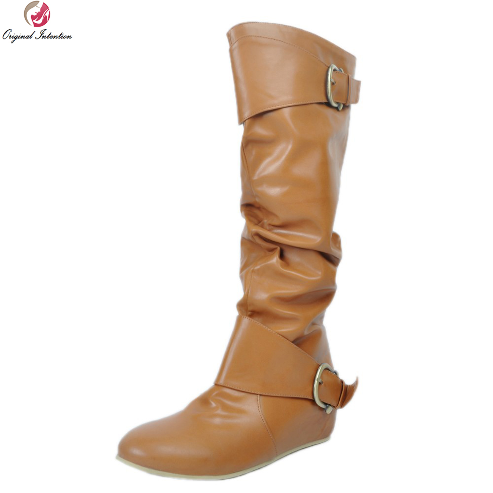 Original Intention Women Knee High Boots Fashion Round Toe Height Increasing Winter Boots Fashion Brown Shoes Woman US Size 4-15 new stylish women mid calf boots fashion round toe height increasing boots beautiful black brown red shoes woman us size 4 10 5