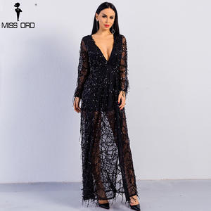 7923da109d6f MISS ORD 2018 Sexy long sleeve two split sequin maxi dress