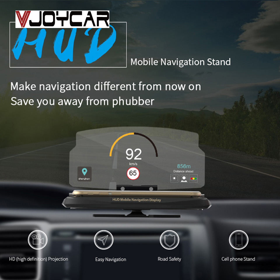 VJOYCAR C62 C63 Head Up Display Holder Car Speedometer Projector Stand Auto Hud Glass Projector For Wireless Phone Navigation new arrival smart cell phone holder mount head up display car hud phone gps navigation wireless charger stand for iphone 8 plus