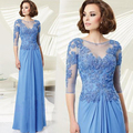 Vestido de madrinha 2016 Elegant Blue Half Sleeve A-Line O-Neck Appliques mother of the bride dresses Long Plus size Prom Dress