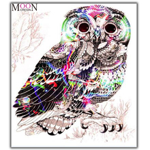 MOONCRESIN Diamond Painting Cross Stitch Color Owl Brids Diy Diamond Mosaic Full Diamond Embroidery Decoration Gifts Animals Kit mooncresin diy diamond embroidery brids