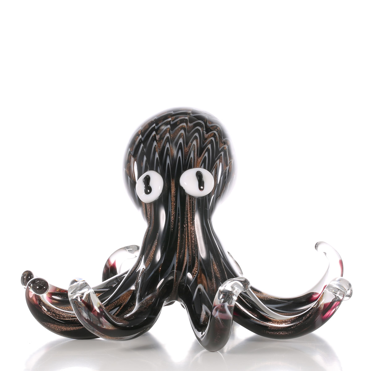 Glass animal ornaments - Tooarts Black Octopus Gift Glass Ornament Animal Figurine Handblown Home Decor Figurine Office Desktop Decoration Craft