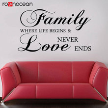 Family Quote Wall Sticker Vinyl Art Home Decor Living Room Bedroom Where Life Begins Love Never Ends Decal Removable Mural 3Q31