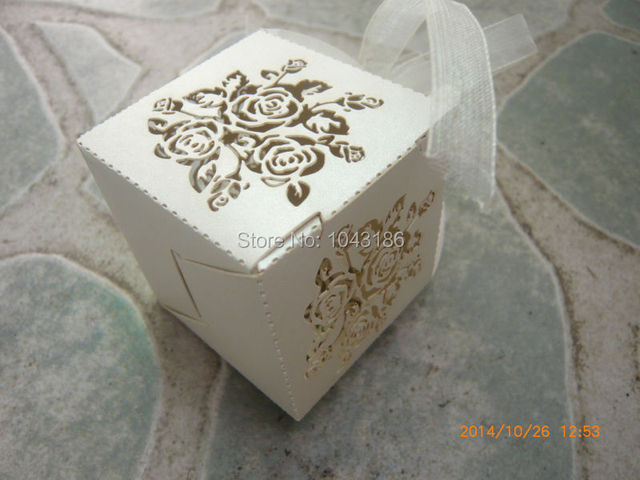 Free Shipping Rose Laser Cut Candy Gift Boxes With Ribbon Wedding