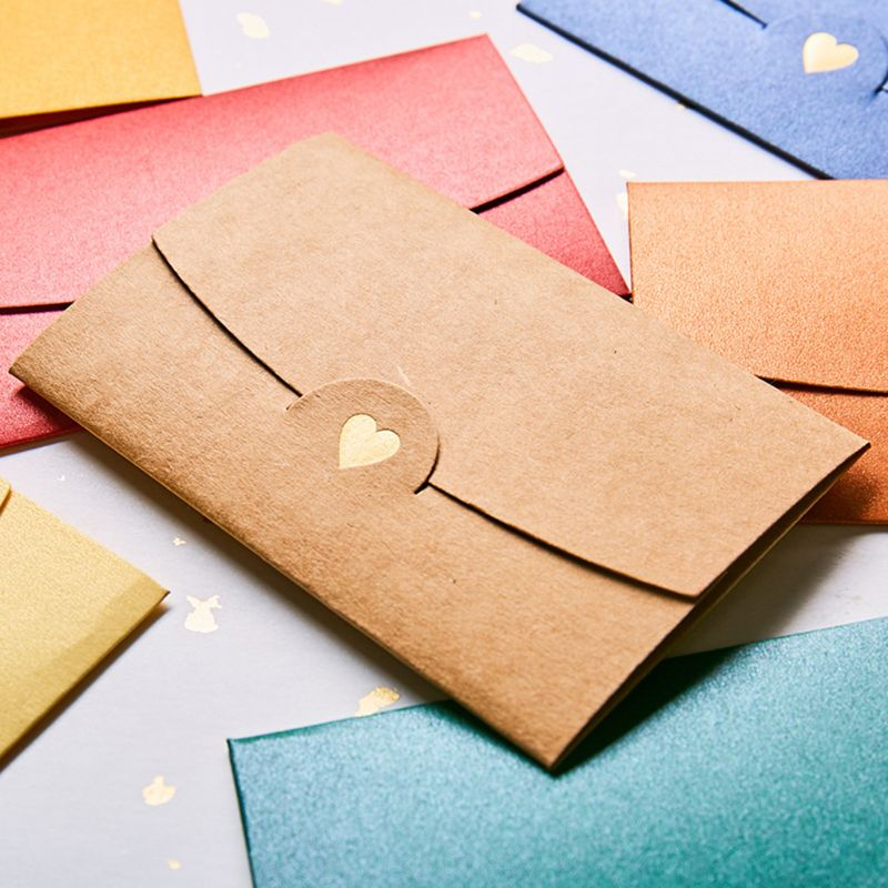10pcs Blank Mini Heart Retro Paper Envelopes Wedding Party Invitation Envelope For Letter Greeting Cards