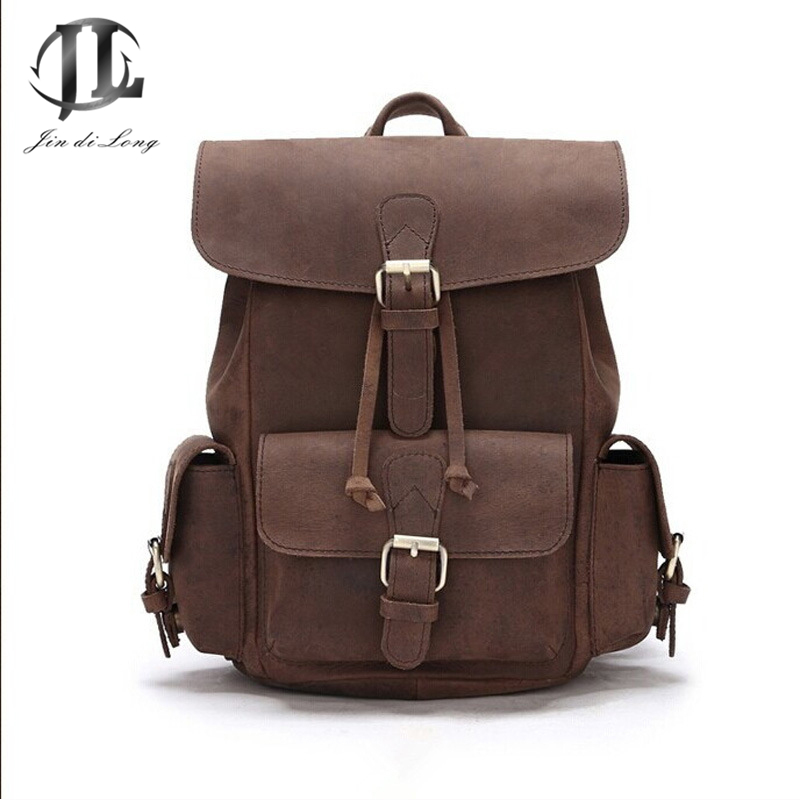 New Full Crazy Horse Genuine Leather Men Women's Travel Backpack School Student Daypack Back Pack Notebook Laptop Bag men genuine leather high capacity backpack travel bag crazy horse leather famous brand fashion 14 inch notebook bag j50