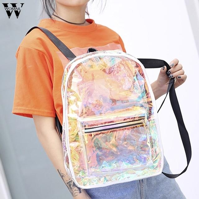 New Large Capacity Backpack for Women Transparent Jelly Bag Travel Backpacks Female School Bag Student Bag For Girls Mochilas