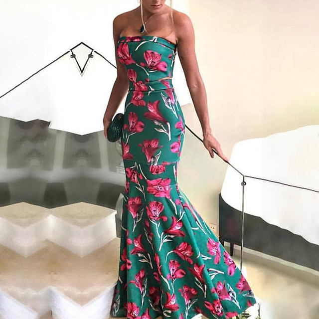 d7b08142fa Summer 2018 Fashion Women Elegant Long Prom Trumpet Maxi Dress Female Sexy  Forma Floral Fishtail Hem