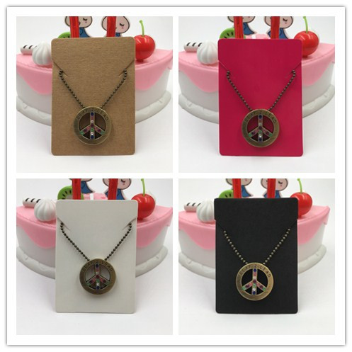 100pcs 4 Colors  5*7 Cm Handmade Necklace Pendant Display Card Jewelry Displays Pendant Packing Necklace Cards