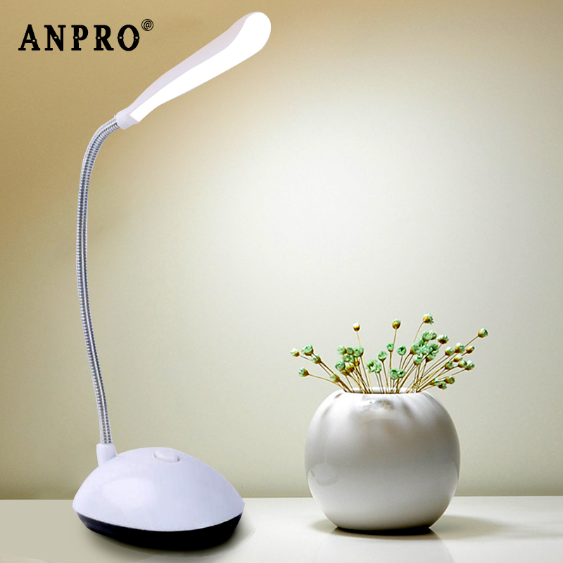 Anpro LED Desk Lamp Flexible Foldable Eye Protection Table Lamp AAA Battery Powered Reading Book Lights For Children Kids