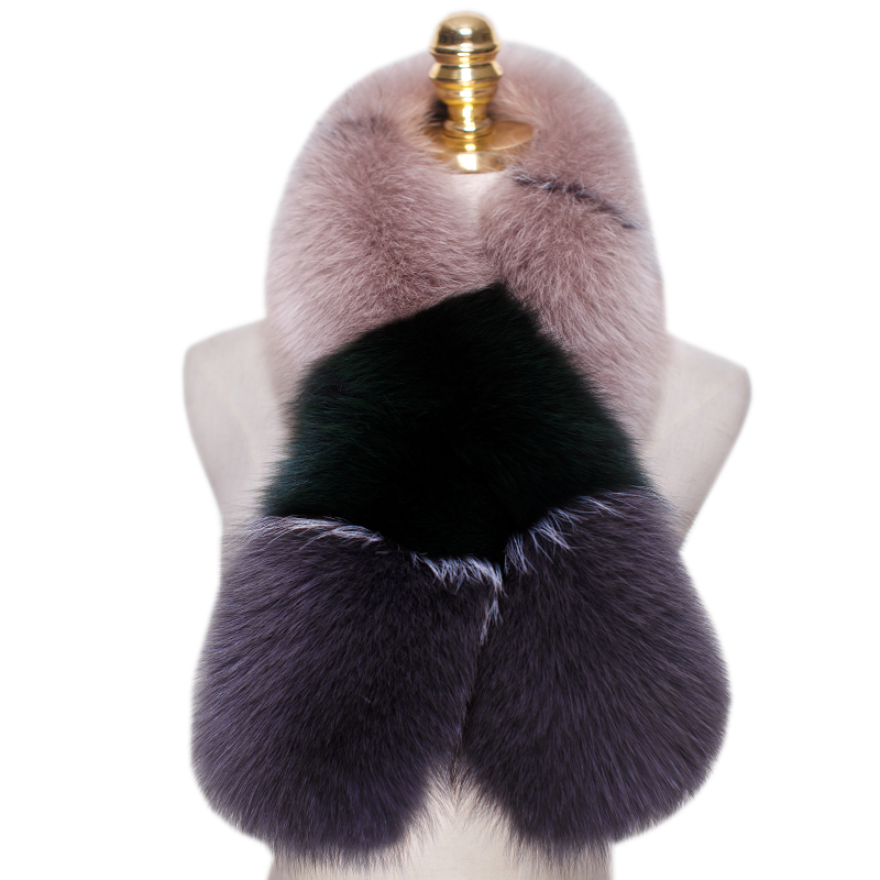 Scarf For Women's Genuine Real Fox Fur Scarf Scarves Neck Warmer Wrap Cape Shawl Poncho Snood Color Blocking Trend Scarf