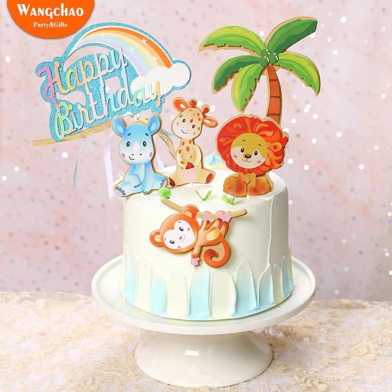 Peachy Safari Birthday Cake Topper Forest Lion Monkey Zoon Theme Funny Birthday Cards Online Alyptdamsfinfo