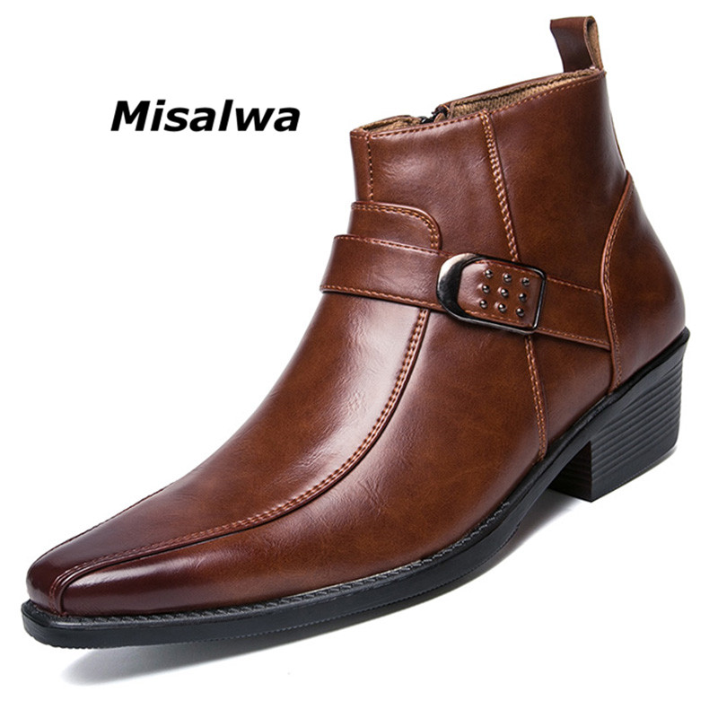 Misalwa Men s Dress Ankle Zip Leather Boots 2019 Autumn British Retro Men Motorcycle Boots Casual