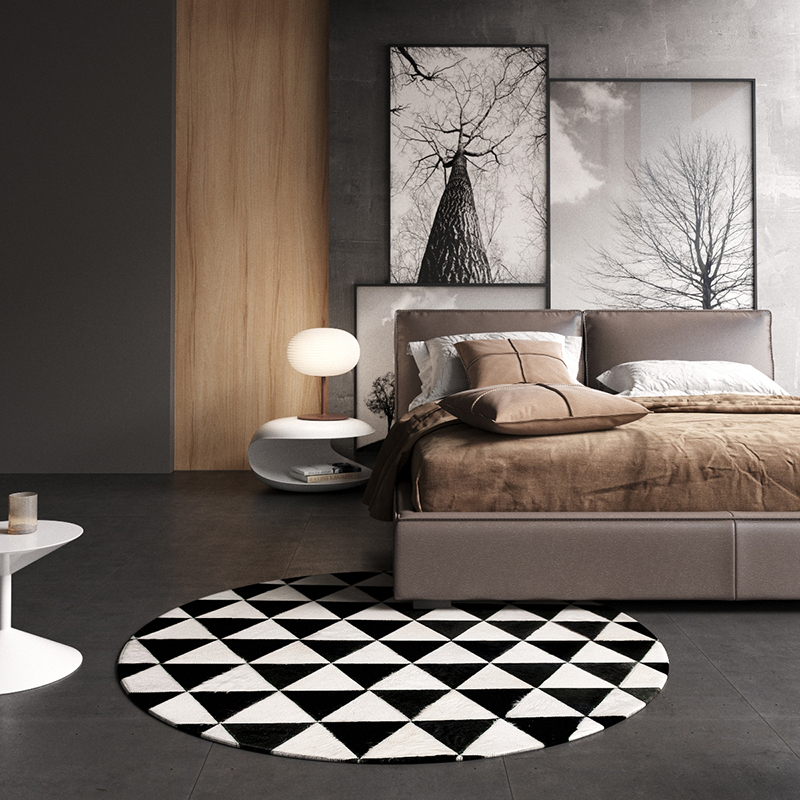 Black and white grid circle rug cowhide patchwork rug - Black and white living room rug ...
