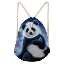 Noisydesigns Cool Panda Men s Casual Mochila Animal Butterfly 3D Print Small Women Drawstring Bag Satchel