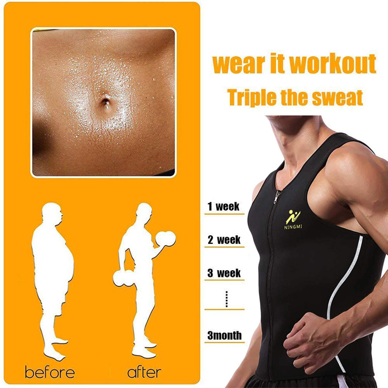 00cd4dfee1 NINGMI Men Sauna Vest Hot Sweat Waist Trainer Tank Top Neoprene Slim Body  Shaper Male Workout Corset ...