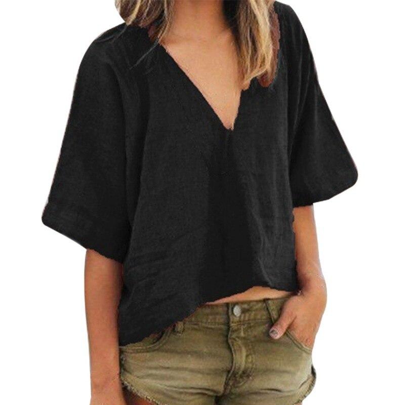 Tshirt Women Sexy Deep V Neck Solid T-shirt Short Sleeve Basic Cotton Linen T-Shirt Summer Casual Tops haut femme