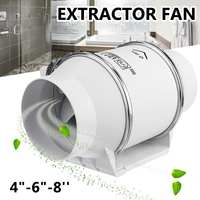4 6 8 inch ABS Exhaust Fan Bathroom 220V Home Silent Inline Pipe Duct Fan Extractor Ventilation Kitchen Toilet Wall Air Cleaner