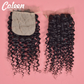 7A Peruvian Water Wave Silk Base Closure 8''-24'' Peruvian Curly Silk Closure Cheap Human Hair Shed Free Silk Base Lace Closure