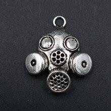 WKOUD 5pcs Antique Silver 3D Biohazard Charm Biochemical Mask Alloy Pendant Necklace Bracelet DIY Metal Jewelry Findings 33*26mm