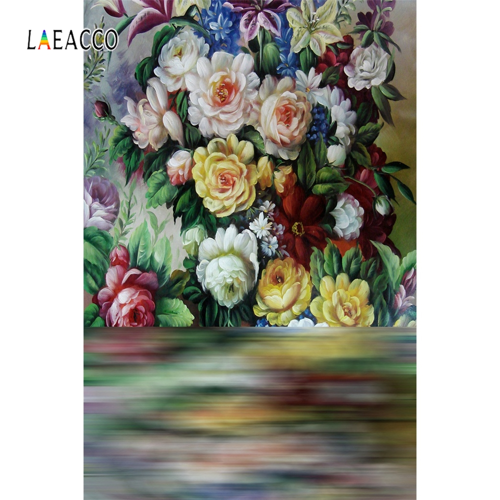 Laeacco Painting Flower Backdrop Retro Baby Portrait Photography Backgrounds Customized Photographic Backdrops For Photo Studio