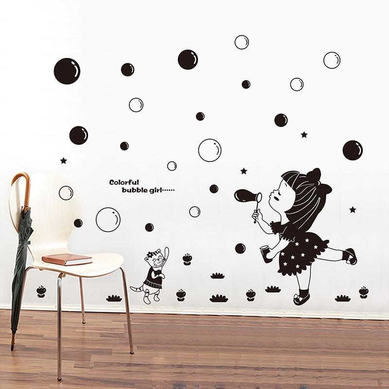 girl wall sticker cartoon diy blowing bubbles wall sticker for kids
