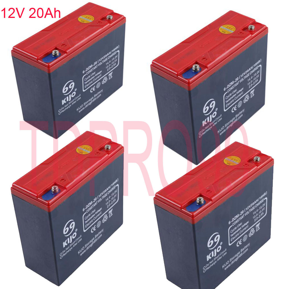 4x 12V 20AH Sealed Lead Acid Rechargeable Battery 6-DZM-20 Golf Cart Go Kart Sco