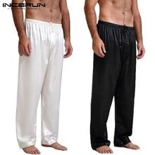 INCERUN Polyester Comfortable Mens Pajamas Pants Lounge Trousers Sleep Bottoms Homewear Plus Size 3XL Casual Loose Undersuit