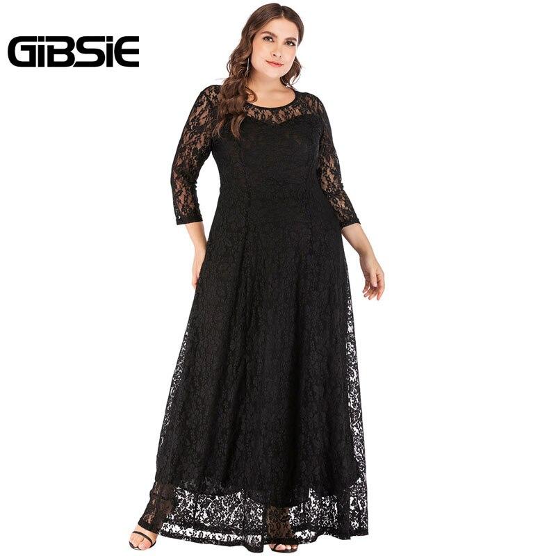 GIBSIE femmes 6XL 5XL 4XL soirée élégante robe en dentelle femme o-cou 3/4 manches longues Maxi robe grande taille vêtements pour femmes