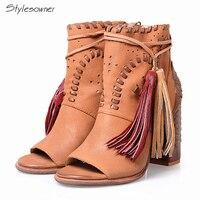 Stylesowner Изысканный Полное Женские босоножки из натуральной кожи одноцветное Цвет открытый носок с закрытой пяткой Euramerican очень высокий кабл