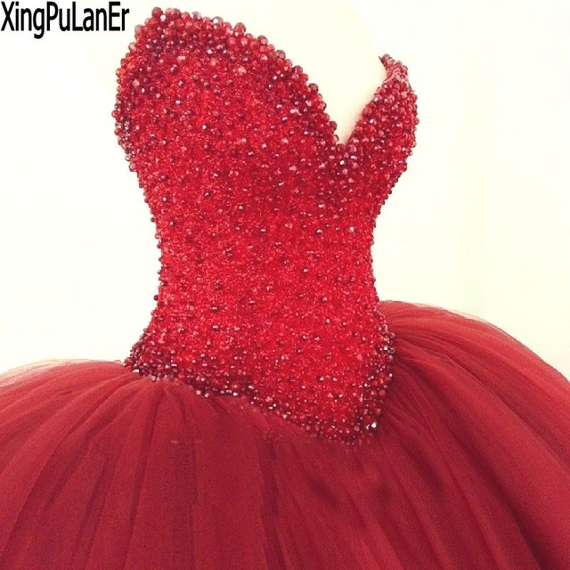 b14000fc40 XingPuLanEr Ball Gown Sweetheart Sleeveless Beaded Sequins Top Cute Puffy Red  Prom Dresses Sweet 16 Dress Quinceanera Gown
