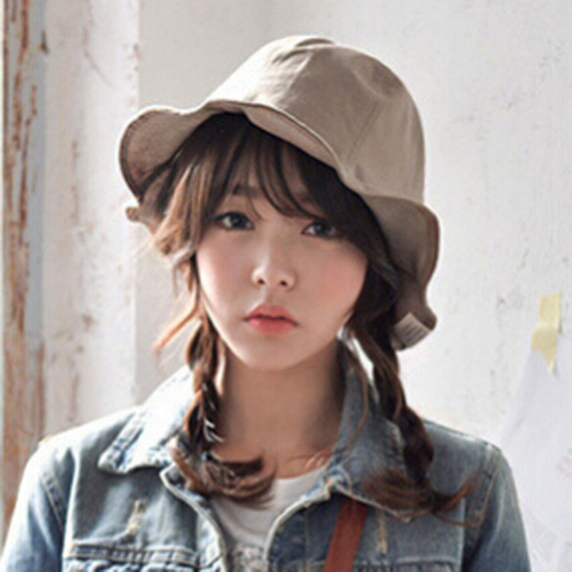 South Korea lovely soft cotton cloth folding pure color edge basin cap female leisure summer sun hat