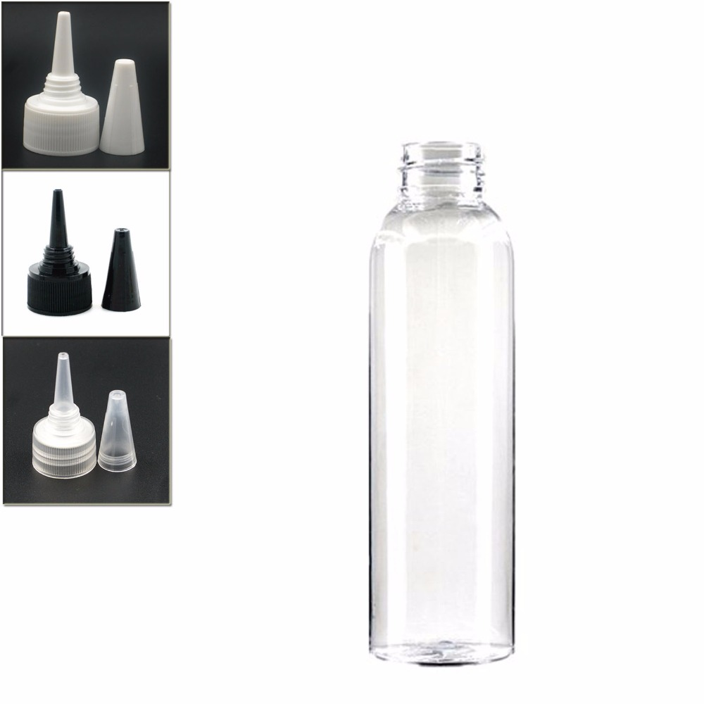 120ml Empty Cosmo Round Plastic Bottle , Clear Pet Bottle With Black/white/transparent Twist Top Caps, Pointed Mouth Top Cap