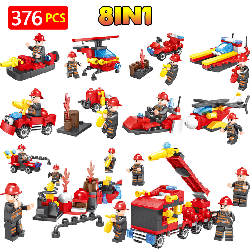 LegoINGLYS City Fire Fighting Technic Action Figures Fireman Team Building Blocks Bricks Kids Enlightening Toys For Child цена