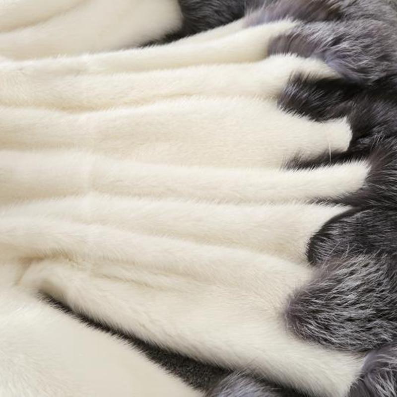 Hiver Slim Faux Chaud black Mode Longues Taille Femmes Fourrure Long S615 Col Nouvelle De Manteau Plus White Manches À Capuchon wq6xC7t7