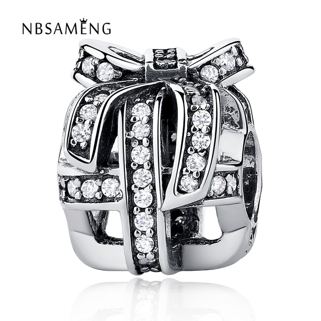 39aa37bb71ae US $7.81 40% OFF|Authentic 100% 925 Sterling Silver Al Wrapped Up in Silver  Openwork Gift Box Fit Pandora Bracelets & Bangles DIY Beads Charms-in ...