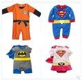 Bebé recién nacido Goku superman Batman mameluco para las muchachas historieta de los bebés mono infantil kleding jurkjes ropa de los bebés trajes canastilla