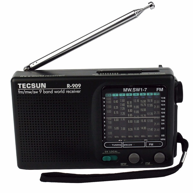 Venda quente! Rádio Tecsun R-909 AM/FM/SW Rádio Mundial Banda Receiver Portátil DX/LOCAL de Rádio FM de Sensibilidade Y4140A